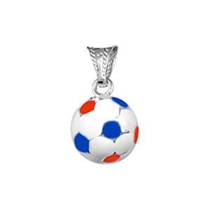 Image of Pendentif petit ballon foot bleu/blanc/rouge argent