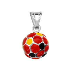 Image of Pendentif petit ballon foot rouge/noir/jaune argent