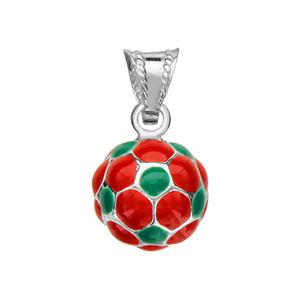 1001 Bijoux - Pendentif petit ballon foot rouge et vert argent (Portugal) pas cher