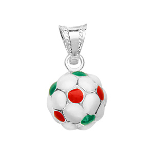 Image of Pendentif petit ballon foot vert/blanc/rouge argent (Italie)