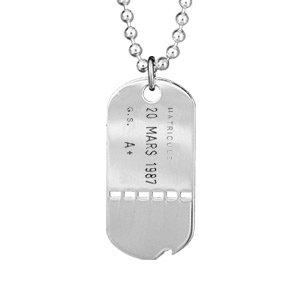 1001 Bijoux - Plaque militaire argent trouée avec chaîne boule pas cher
