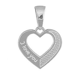"""1001 Bijoux - Pendentif Coeur découpé """"I love you"""" en argent rhodié pas cher"""