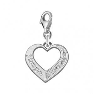 """Image of Pendentif charm's coeur découpe gravé """"I Love You"""" argent rhodié"""