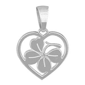 1001 Bijoux - Pendentif Coeur Trèfle en argent rhodié pas cher