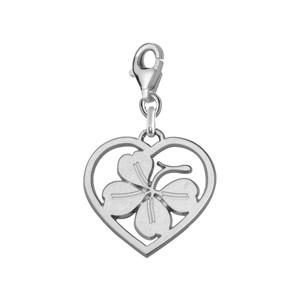 Image of Pendentif charm's coeur + trèfle 4 feuilles argent rhodié