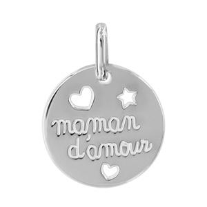 Image of Pendentif argent rhodié Maman d'amour et coeurs découpés