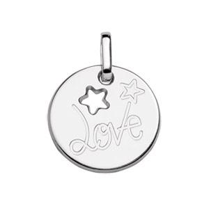 Image of Pendentif argent rhodié rond Love avec étoiles découpées