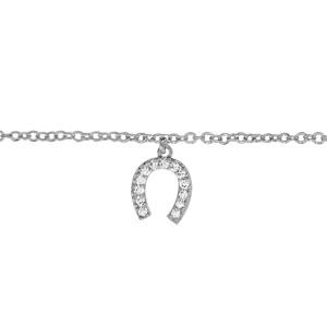 Image of Chaîne cheville argent rhodié motif fer à cheval oxydes blancs sertis 23+2cm