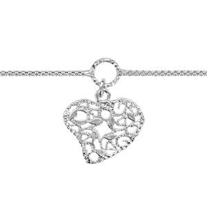 Image of Chaîne cheville argent rhodié pampille coeur ajourée 20+4cm