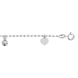 1001 Bijoux - Chaîne cheville argent rhodié maille olive pampilles coeurs et boules 20+4cm pas cher