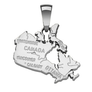 Image of Pendentif Canada en argent rhodié