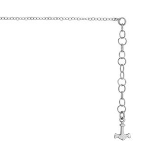1001 Bijoux - Chaîne de cheville argent rhodié pampille ancre marine 22+4cm pas cher