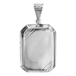Image of Pendentif cassolette rectangulaire biseauté argent grand modèle