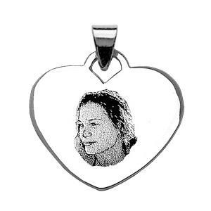 Image of Pendentif coeur argent gravure portrait