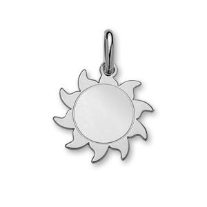 Image of Pendentif argent forme soleil moyen modèle diamètre 23mm