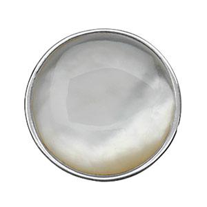 Image of Bague argent rhodié nacre blanche