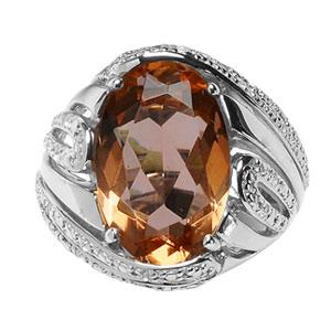Image of Bague argent rhodié pierre ovale orange et pierres blanches