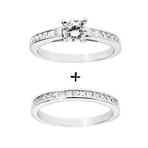 1001 Bijoux - Bague argent rhodié double anneau rail zirconias blancs et solitaire blanc pas cher