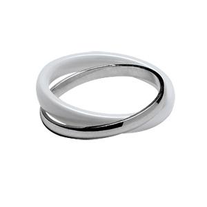 Image of Alliance double anneaux argent rhodié 2mm et céramique blanche 3mm