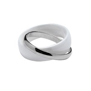 Alliance Double anneaux : 1 de 6mm en céramique blanche et 1 de 2mm en argent rhodié