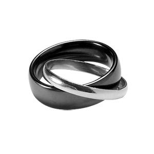 Alliance Double anneaux : 1 de 6mm en céramique noire et 1 de 2mm en argent rhodié