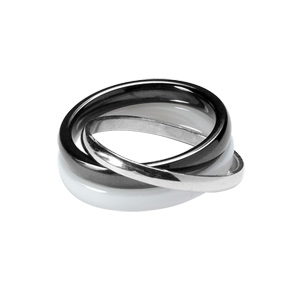 Image of Alliance trio anneaux argent rhodié demi jonc 2mm et céramique blanche et noire 3mm