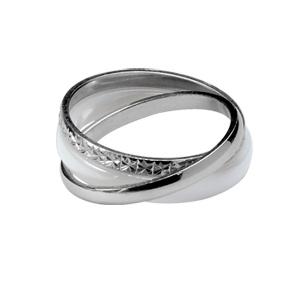 1001 Bijoux - Alliance trio anneaux argent rhodié diamanté 2mm, argent demi-jonc 2mm et céramique blanche 3mm pas cher