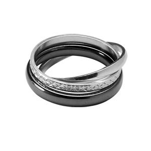Image of Alliance trio anneaux argent rhodié diamanté 2mm, argent demi-jonc 2mm et céramique noire 3mm