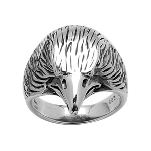 1001 Bijoux - Bague argent tête d'aigle patinée pas cher