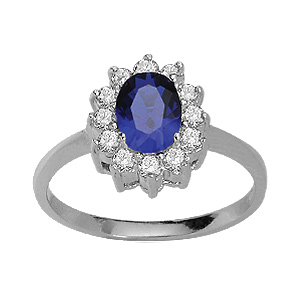 1001 Bijoux - Bague argent rhodié solitaire bleu foncé couronné de zirconias blancs pas cher