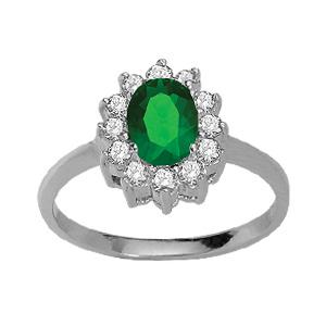 1001 Bijoux - Bague argent rhodié pierre centrale verte contours pierres blanches pas cher