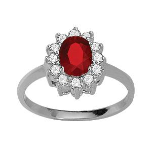 1001 Bijoux - Bague argent rhodié pierre centrale rouge contour pierres blanches pas cher