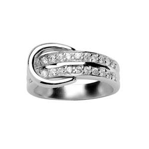 1001 Bijoux - Bague argent rhodié pierres blanches et anneaux pas cher