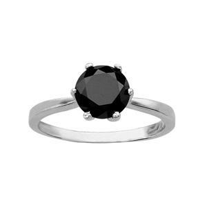 1001 Bijoux - Bague argent rhodié solitaire noir 6 griffes pas cher