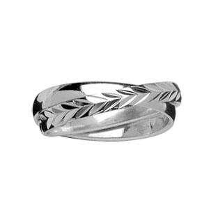 Alliance Demi-Jonc en argent rhodié double anneaux : 1 brillant et 1 ciselé en épis