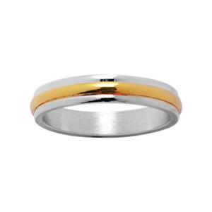 Alliance En argent 4 mm avec au milieu 1 filet en plaqué or