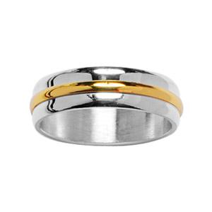 Alliance En argent 6 mm avec au milieu 1 filet en plaqué or