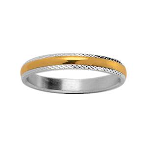 Alliance En argent ciselé 3 mm avec au milieu 1 filet en plaqué or