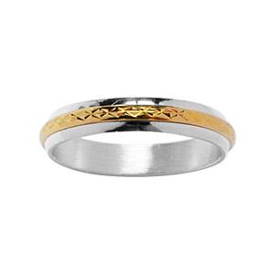 Alliance En argent 4 mm avec au milieu 1 filet en plaqué or ciselé en rose des vents