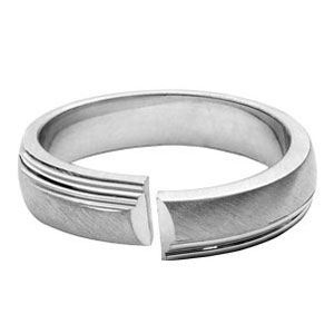 Alliance Argent rhodié anneau 5mm ouvert mat et brillant