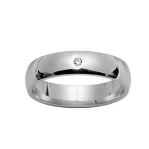 Alliance Argent rhodié jonc 5mm plus 1 diamant 0,02 carat