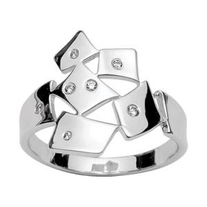 1001 Bijoux - Bague argent rhodié motif dégradé et pierres blanches pas cher