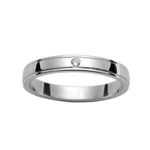 Alliance En argent rhodié 3mm avec 1 diamant 0,02 carats et rainures aux bords