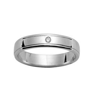 Alliance En argent rhodié 4mm avec 1 diamant 0,02 carats et rainures aux bords