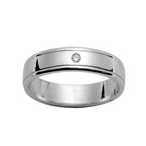 Alliance En argent rhodié 5mm avec 1 diamant 0,02 carats et rainures aux bords