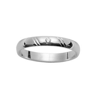 Alliance Demi-Jonc en argent rhodié 3mm diamantée 2 traits en biais et 1 diamant 0,02 carats