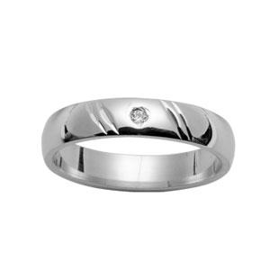 Alliance Demi-Jonc en argent rhodié 4mm diamantée 2 traits en biais et 1 diamant 0,02 carats