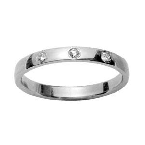 Alliance En argent rhodié 2,5mm avec 3 diamants 0,02 carats