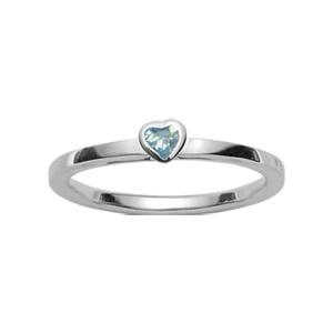 Bague Argent motif coeur et pierre bleue