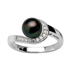 1001 Bijoux - Bague argent rhodié perle grise imitation et barette pierres blanches pas cher